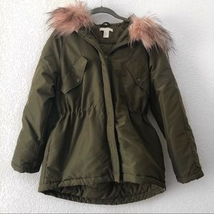 H&M   Olive Green Puffer Coat w Pink Faux Fur Hood